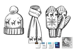 Winter knitted items set