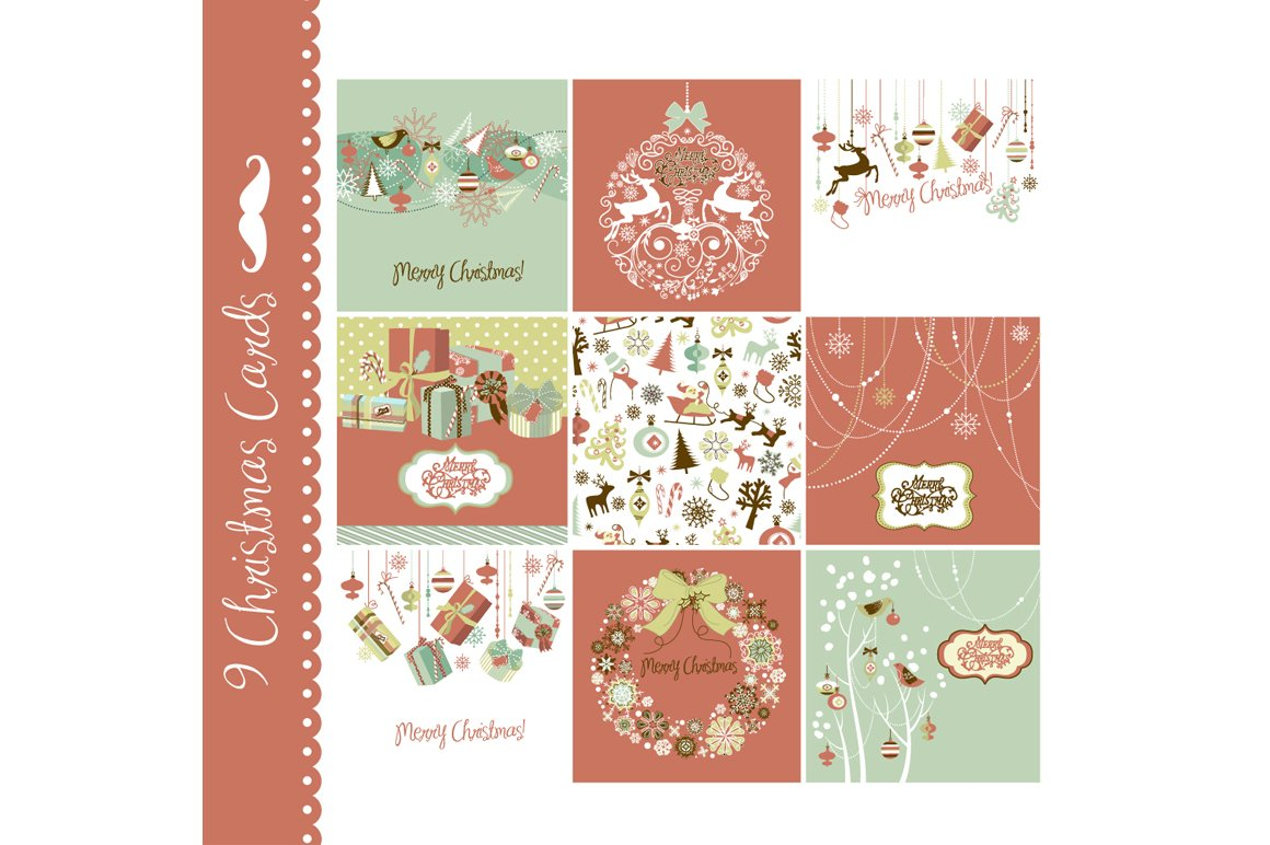 9 Christmas cards, vintage style ~ Illustrations ~ Creative Market