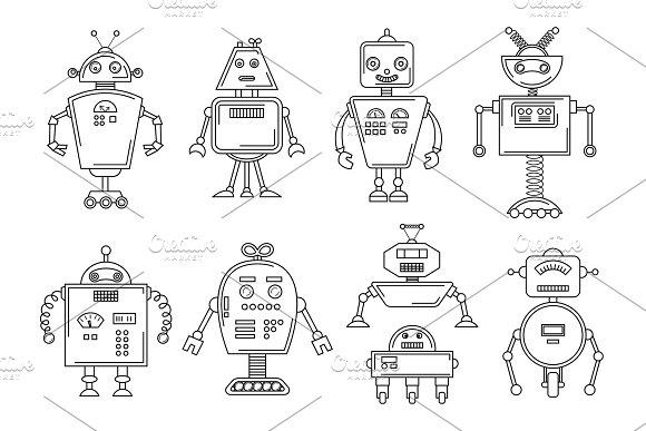 Vector illustration of a Robot. Mechanical character design. Set ...