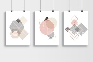 3 Abstract geometric trendy posters!