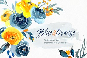 Watercolor blue orange flowers png