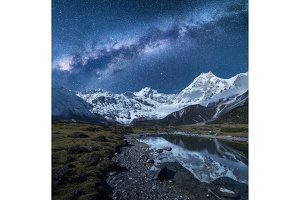 Milky Way and high mountains. Night landscape