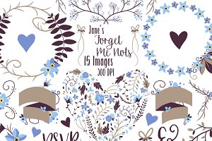 Forget Me Not Floral Clipart