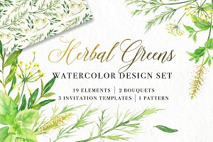 Herbal Greens Watercolor Design Set