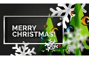 Christmas tree cut paper art, modern minimal design
