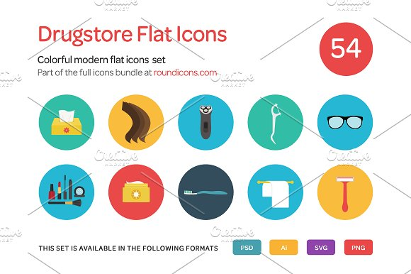 Drugstore Flat Icons Set