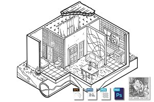 House interior hand drawn