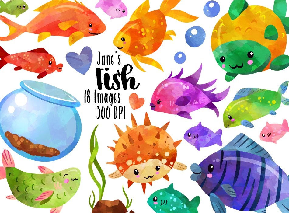 Watercolor Tropical Fish Clipart