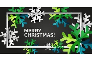 Snowflake Christmas greeting card template