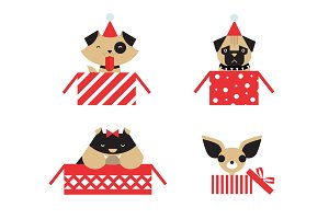 vector christmas dogs