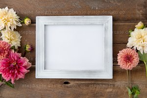 Dahlia's with White Frame Styled