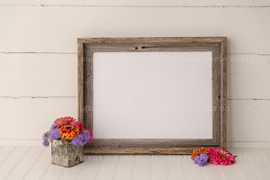 Zinnias with Barn Wood Frame Styled