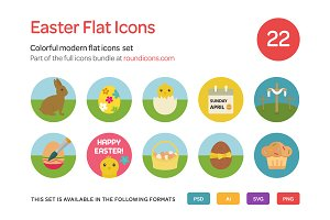Easter Flat Icons Set