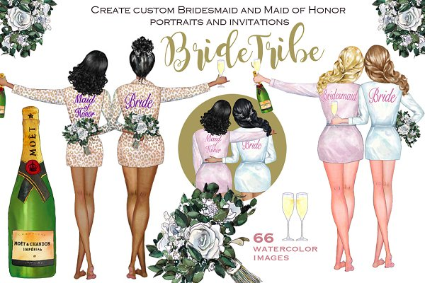 Bride Tribe customizable clipart