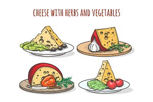 Cheese with herbs and vegetables