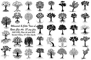 Whimsical & Celtic Trees AI EPS PNG