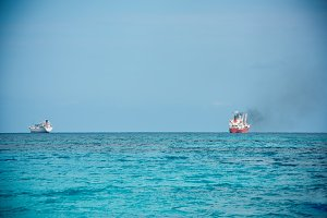 Cargo ship sailing in the ocean