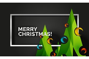 Christmas tree design New Year greeting card