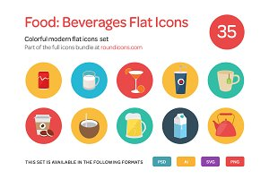 Food: Beverages Flat Icons Set