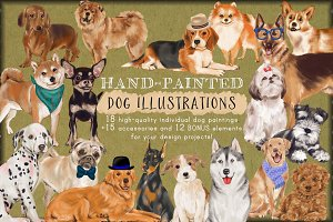 Hand-Painted Dogs Clip-Art