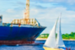 Blue cargo ship - blurred image