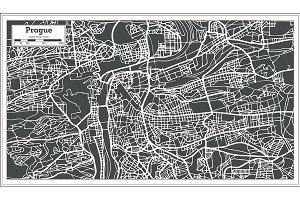 Prague Chezh Republic Map in Retro