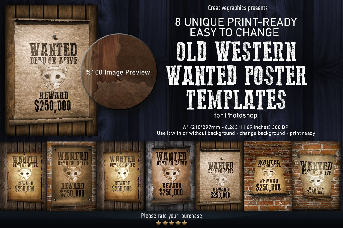 Old Western Wanted Poster Templates Creative Market