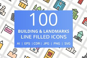 100 Building Filled Line Icons