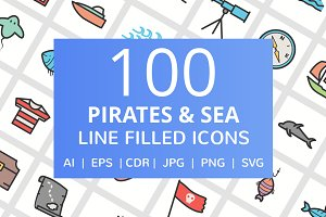 100 Pirate & Sea Filled Line Icons