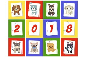 New Year 2018 Symbol Dog Vector Illustration
