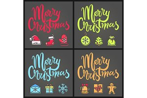 Merry Christmas Set of Posters Vector Illustration