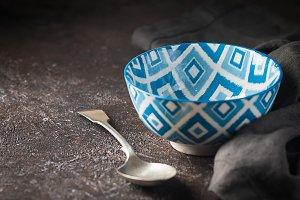Empty blue oriental bowl