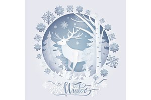 Winter Deer in Forest Poster Vector Illustration