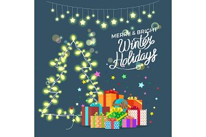 Merry & Bright Winter Holidays Vector Illustration