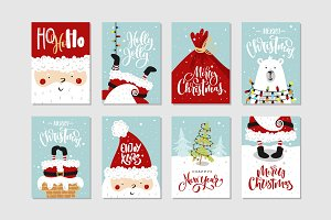 Christmas cards set with lettering