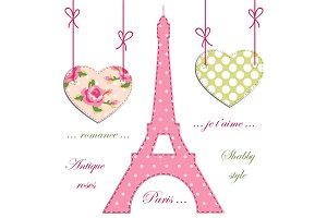 Valentines day background as patchwork fabric Eiffel tower of Paris with hearts on strings