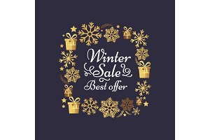 Winter Sale Best Offer Poster Made of Snowflakes