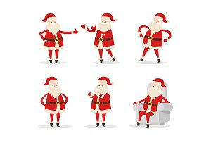 Santa Collection of Icons Vector Illustration
