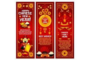 Chinese New Year greeting banner with red lantern