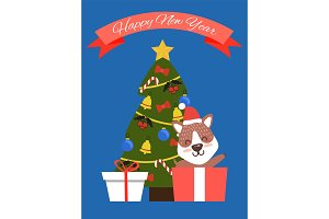 Happy New Year Tree and Dog Vector Illustration