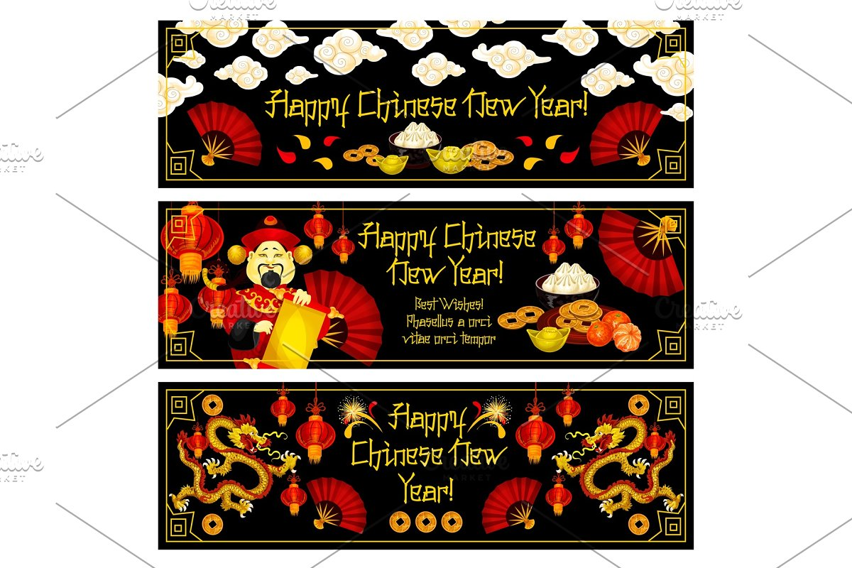 Chinese New Year vector golden decoration banners in Illustrations - product preview 8