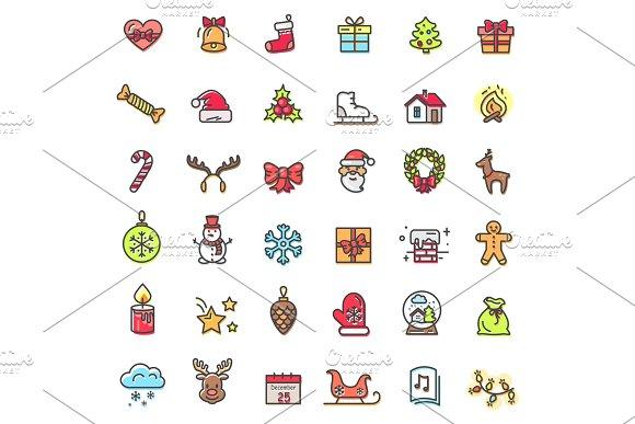 Christmas Theme Colorful Icons Vector Illustration