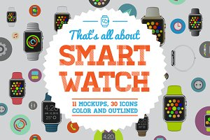 Awesome SmartWatch Mockup/Icons Set