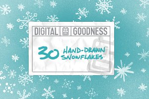 30 Snowflakes Hand Drawn