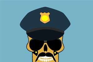 Police officer skull, cool vector