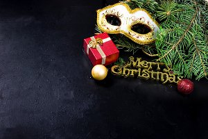 Carnaval mask and Merry Christmas in