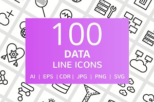 100 Data Line Icons