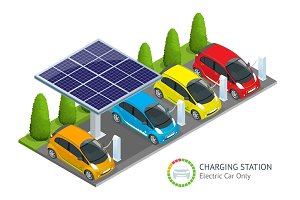Power supply for electric car charging. Electric car charging station vector. Renewable eco technologies. Green power