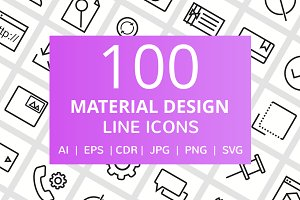 100 Material Design Line Icons