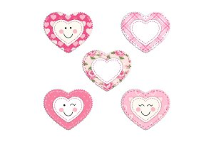 Cute fabric hearts as different smiling characters